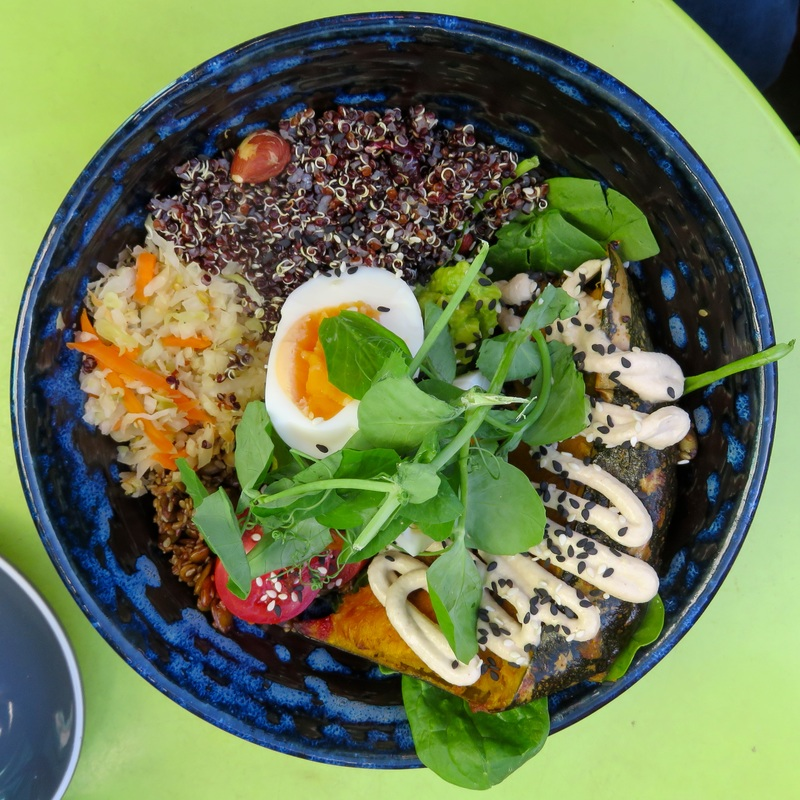 Bowl of food - grains, veg, egg