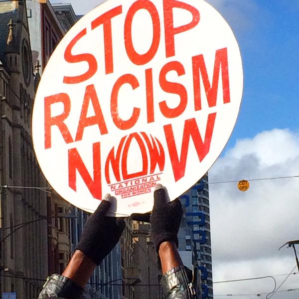 Stop racism now sign