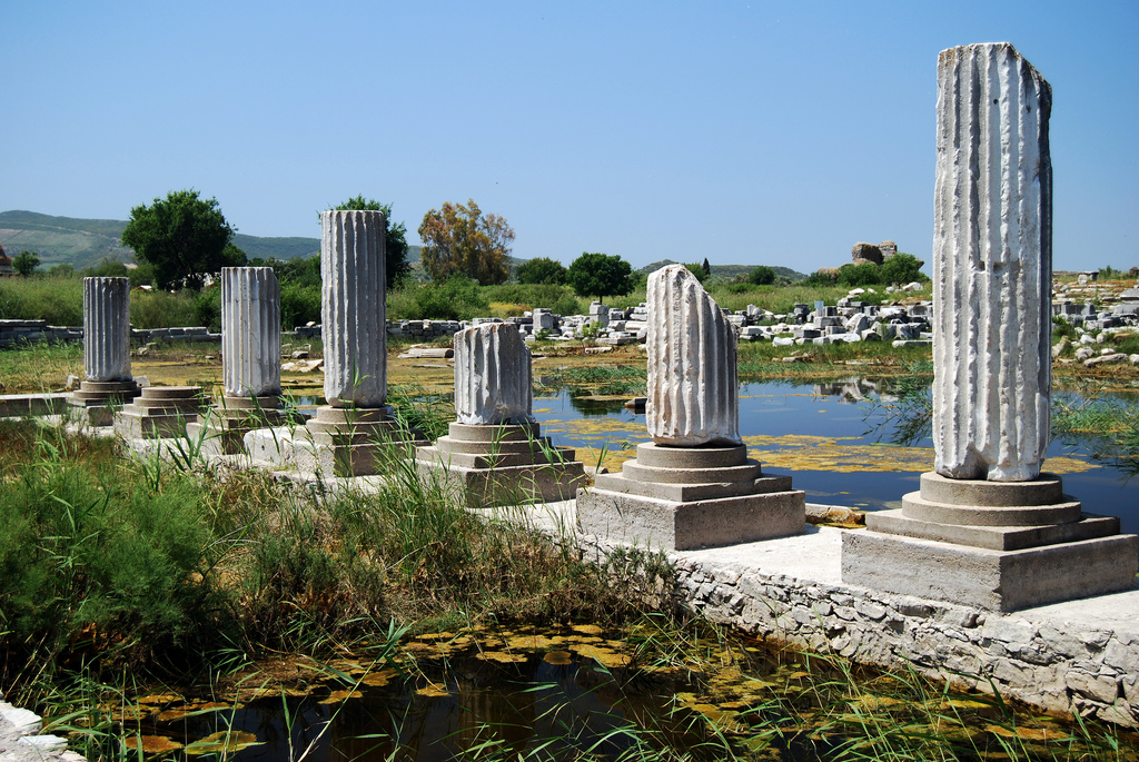 Remains of white fluted columns and a background of jumbled ruins and water