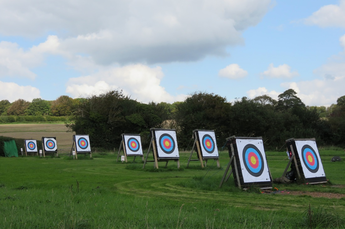 Archery targets in field