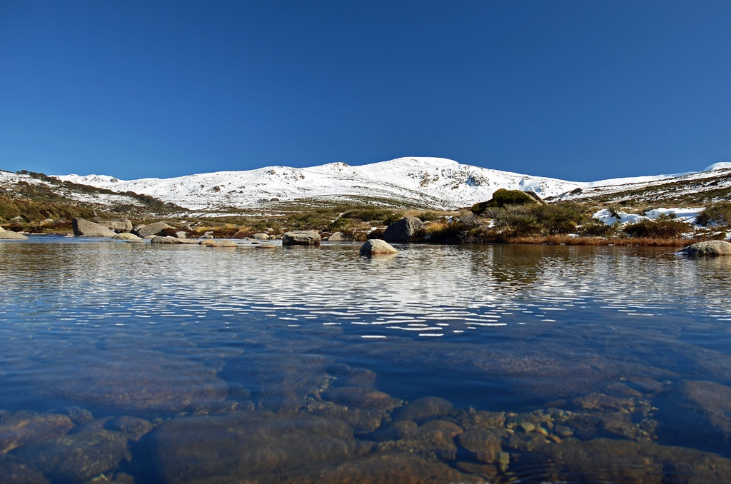 snowy mountain and clear water in foreground