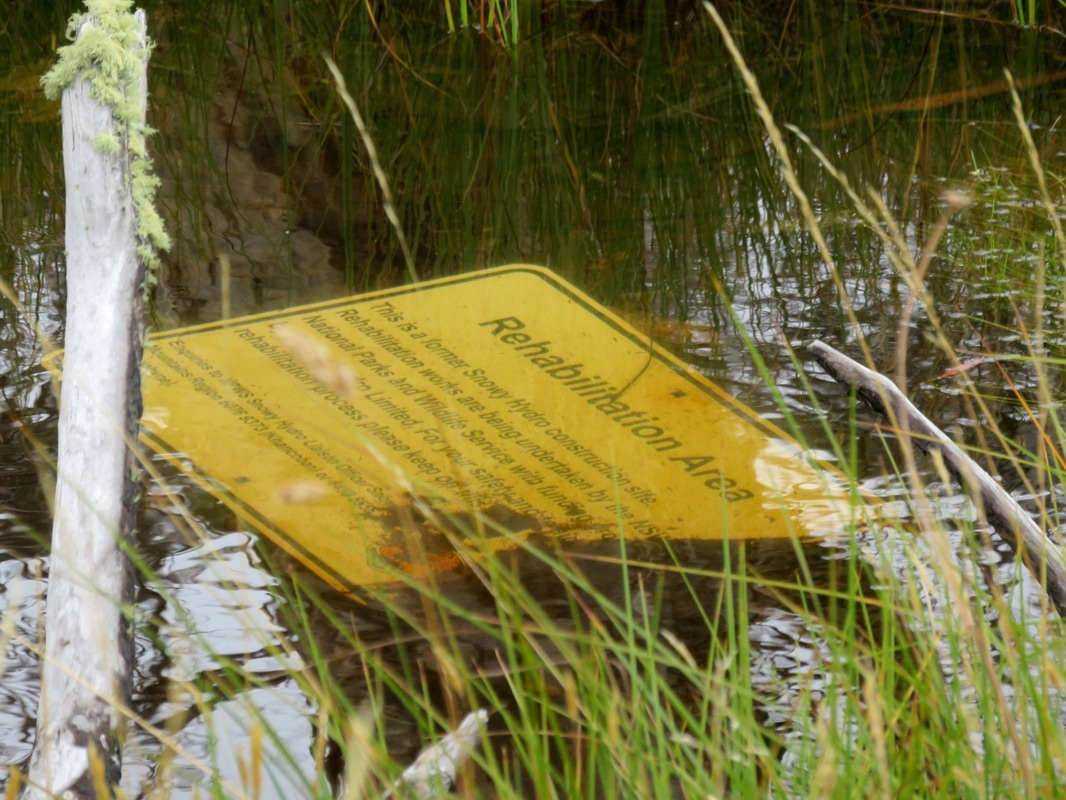 Sign sunk in water