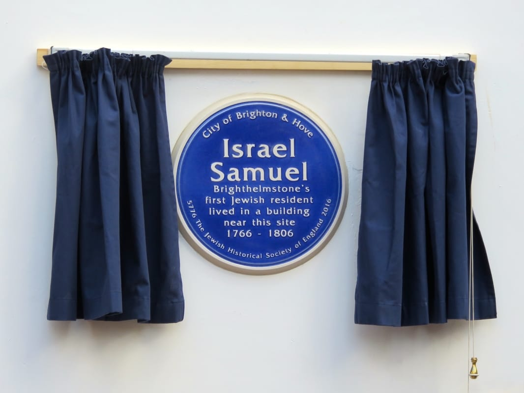 Blue plaque and curtains