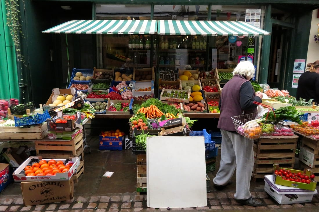 shop front with colourful produce