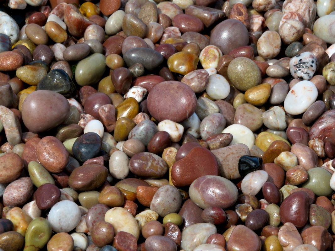 Wet pebbles in lots of colours