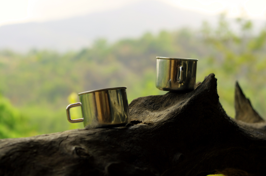 Metal cups in outdoor setting
