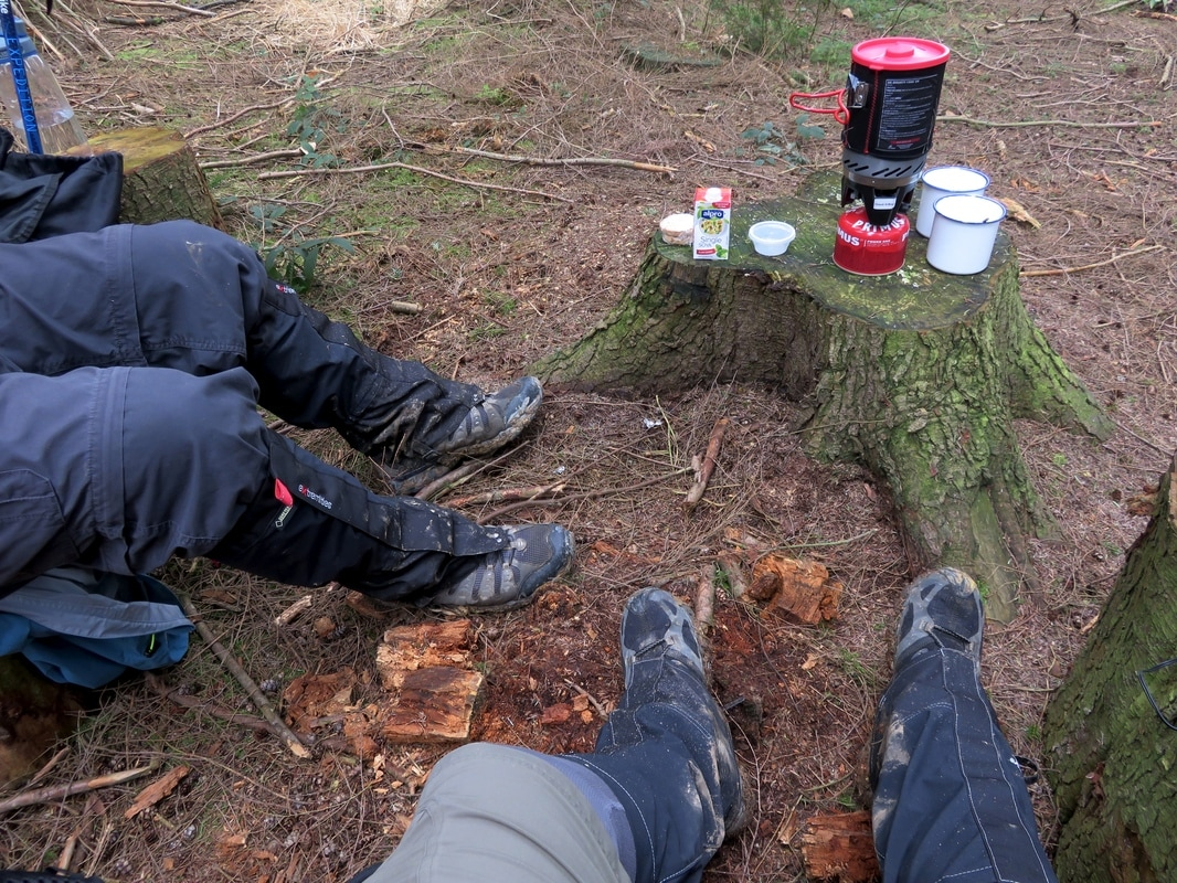 muddy boots and legs and tea stuff