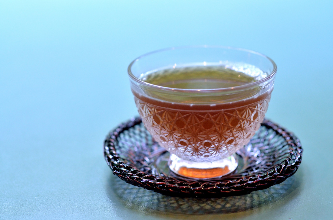 Tea in a decorative glass