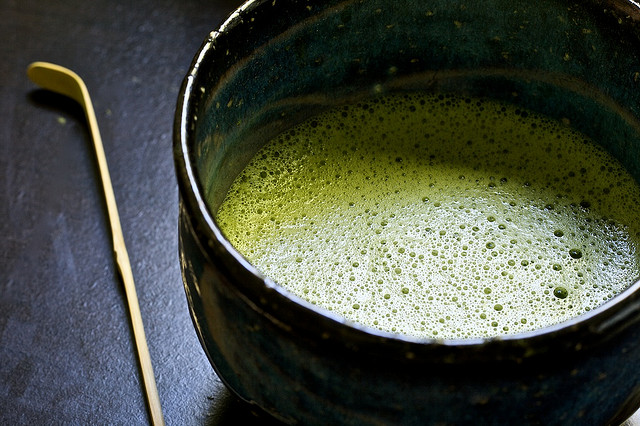Frothy green tea