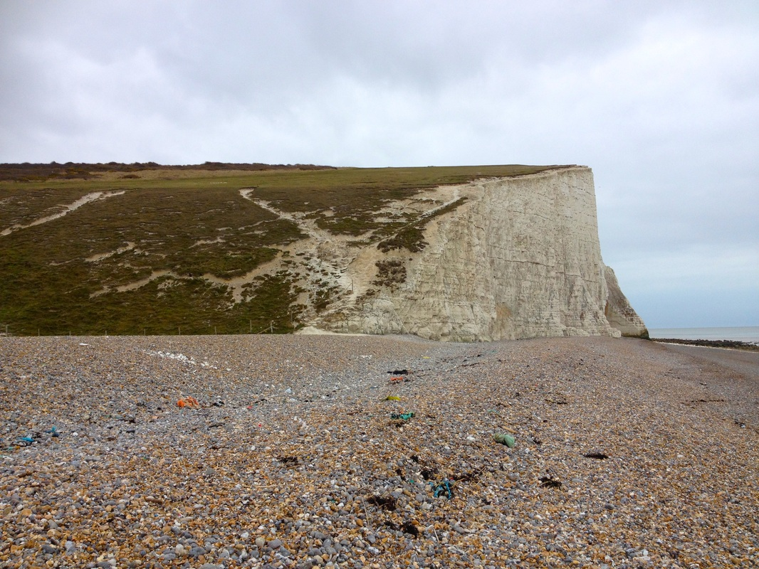 White cliffs and rubbish