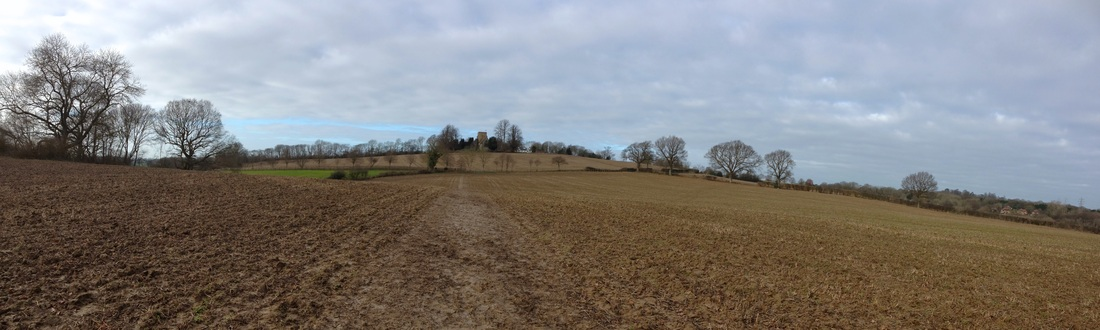 Panorama of fields and church
