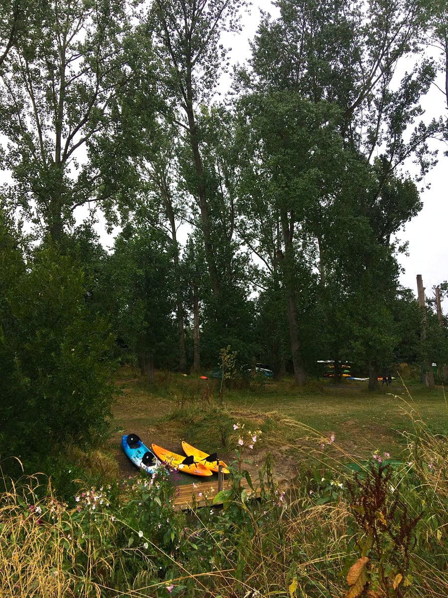 Kayaks beside river