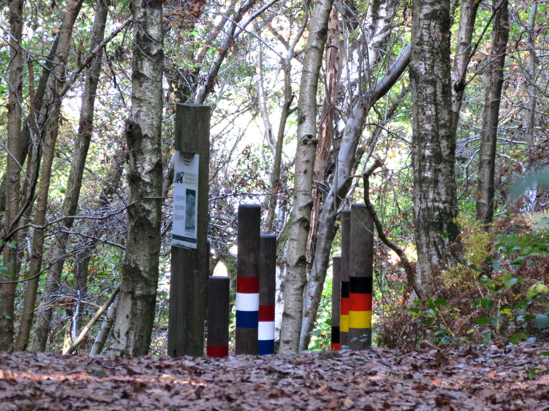 footpath marked with posts painted with flags