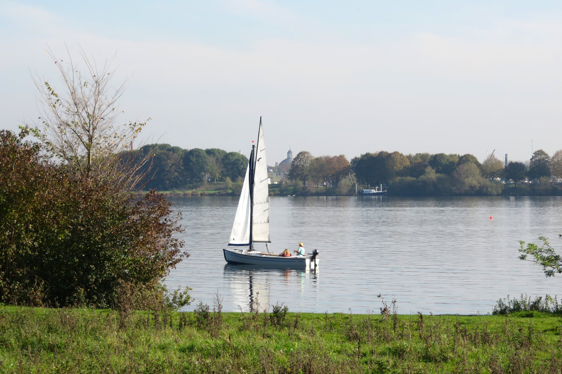 Small sailing boat on a lake