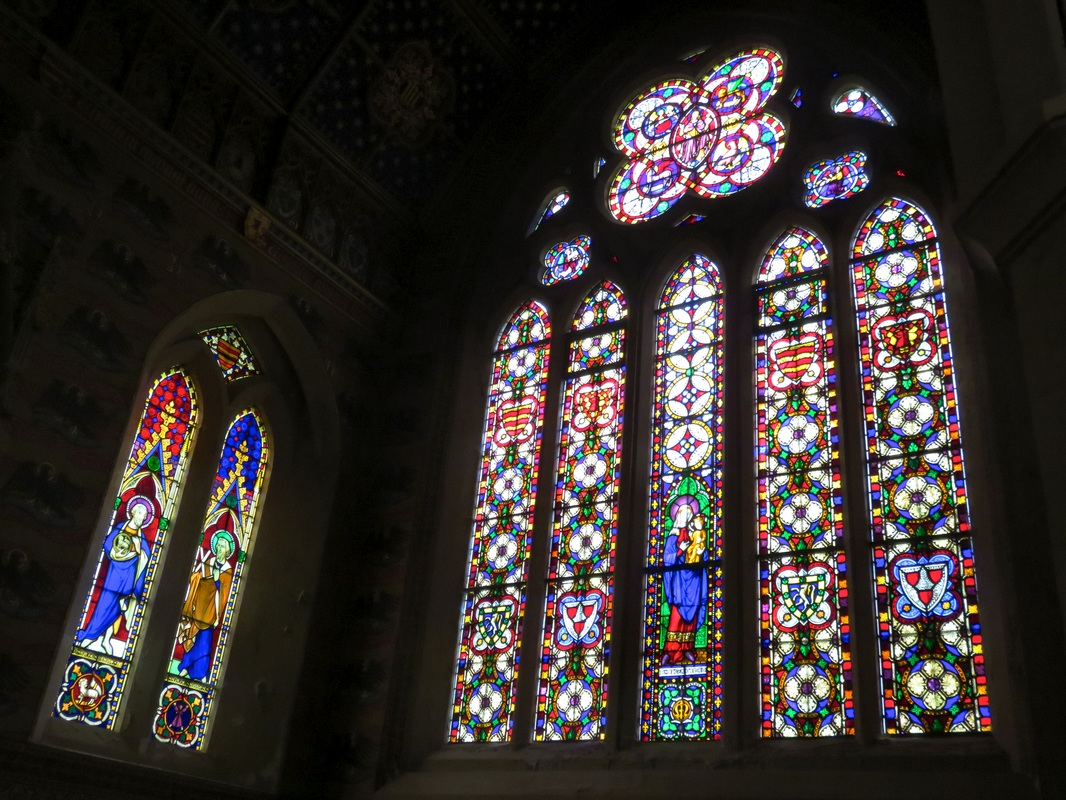 two coloured glass windows