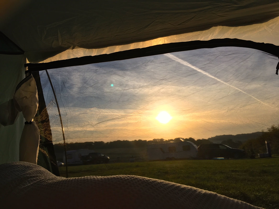 View of morning sun from within tent