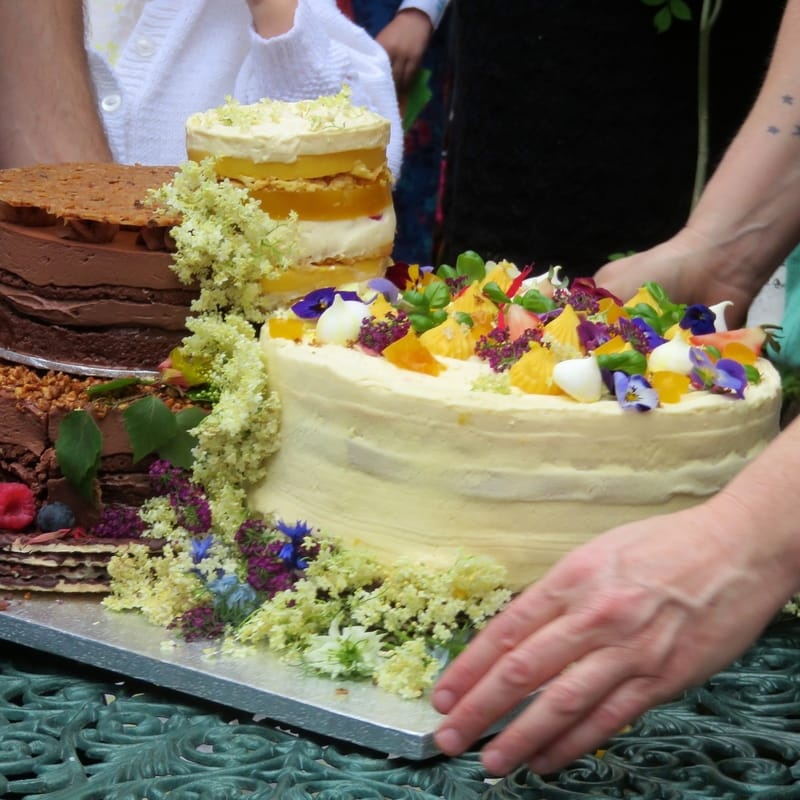 cakes with flowers and fruit